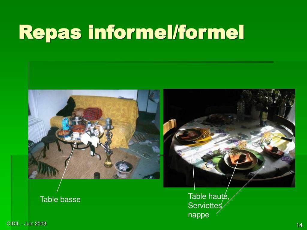 Repas informel/formel