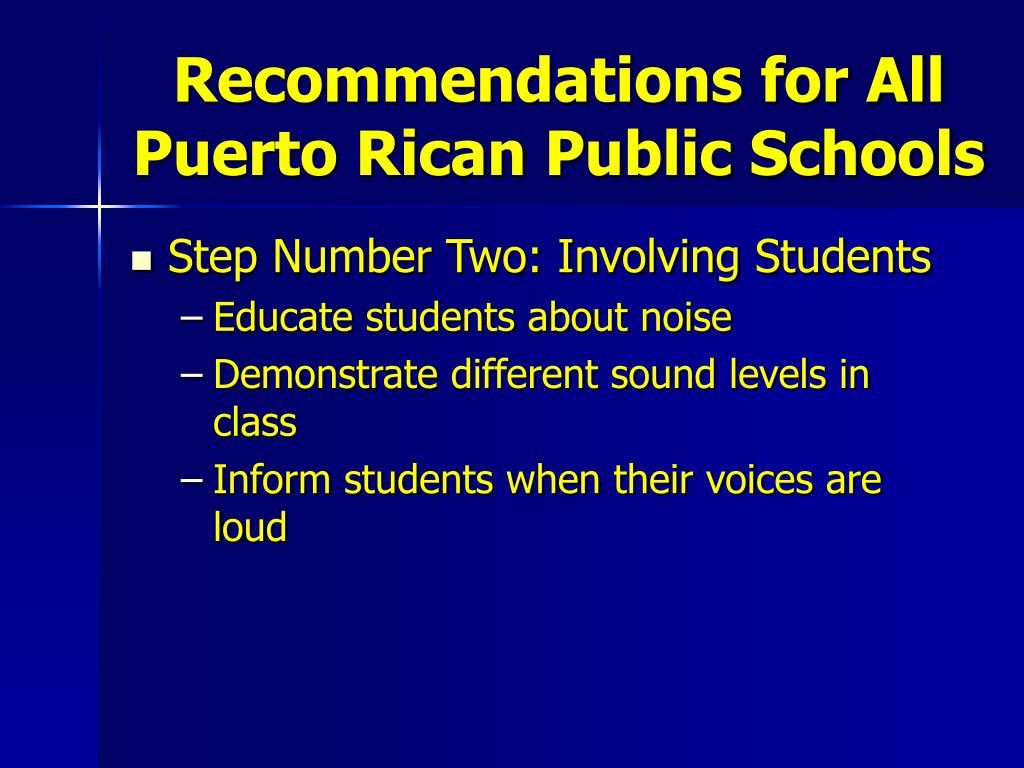 Recommendations for All Puerto Rican Public Schools