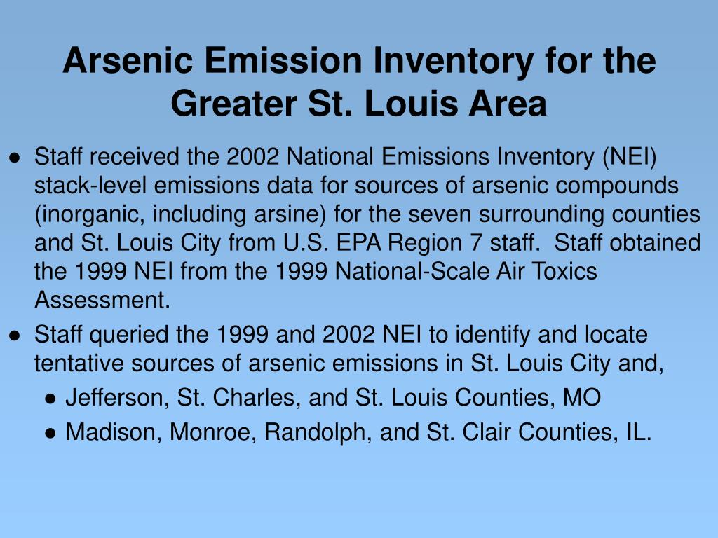 Arsenic Emission Inventory for the Greater St. Louis Area