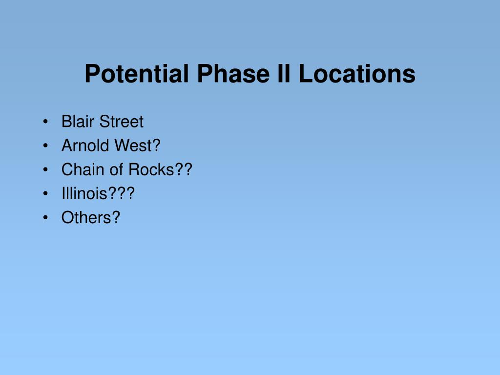Potential Phase II Locations