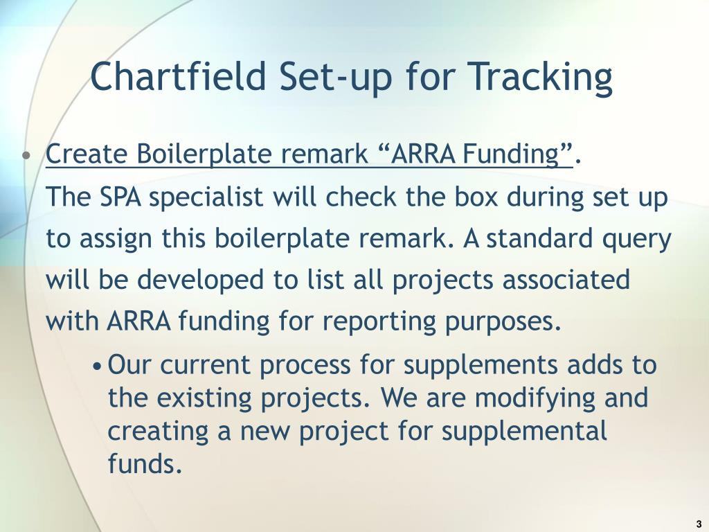 Chartfield Set-up for Tracking