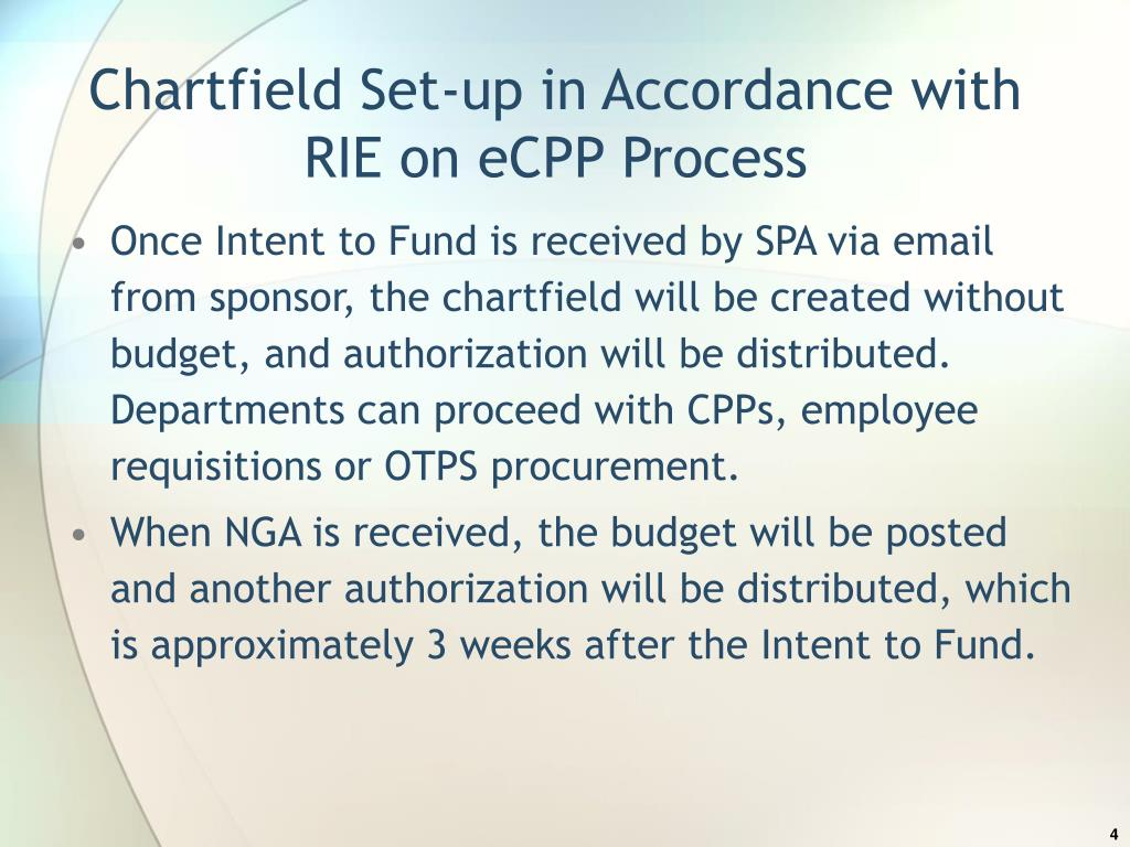 Chartfield Set-up in Accordance with RIE on eCPP Process