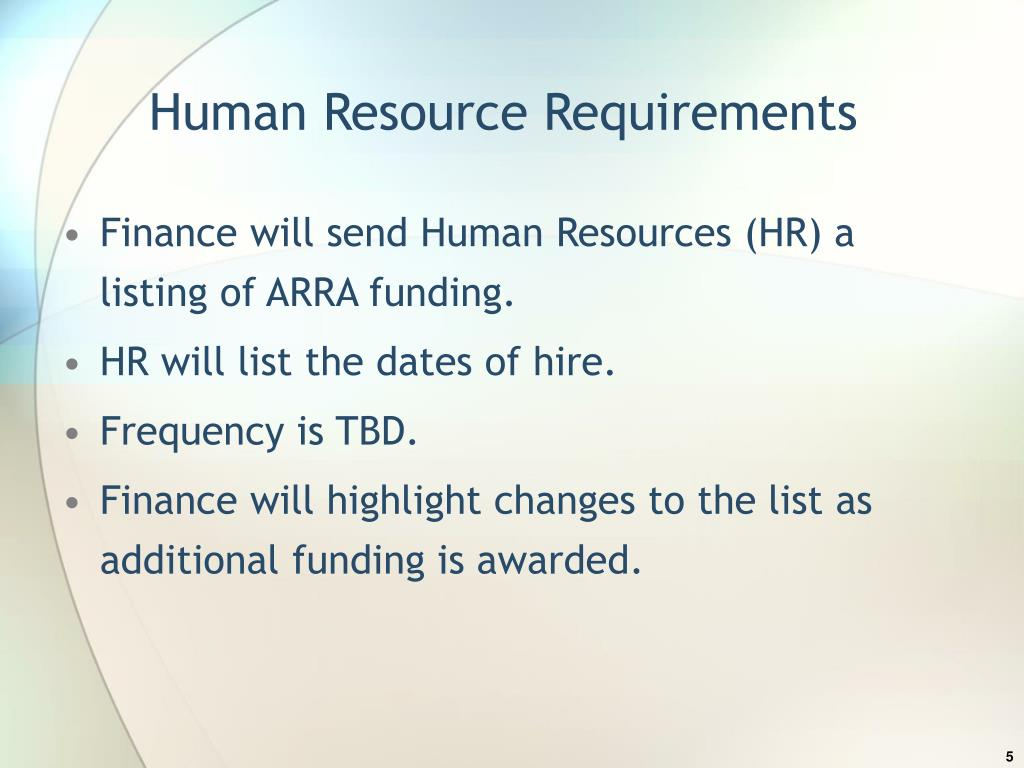 Human Resource Requirements