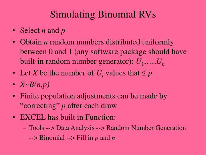Simulating Binomial RVs