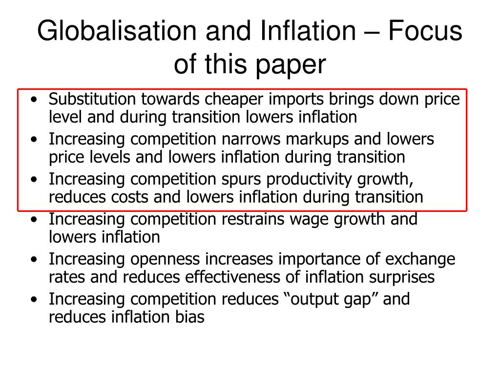 Globalisation and Inflation – Focus of this paper