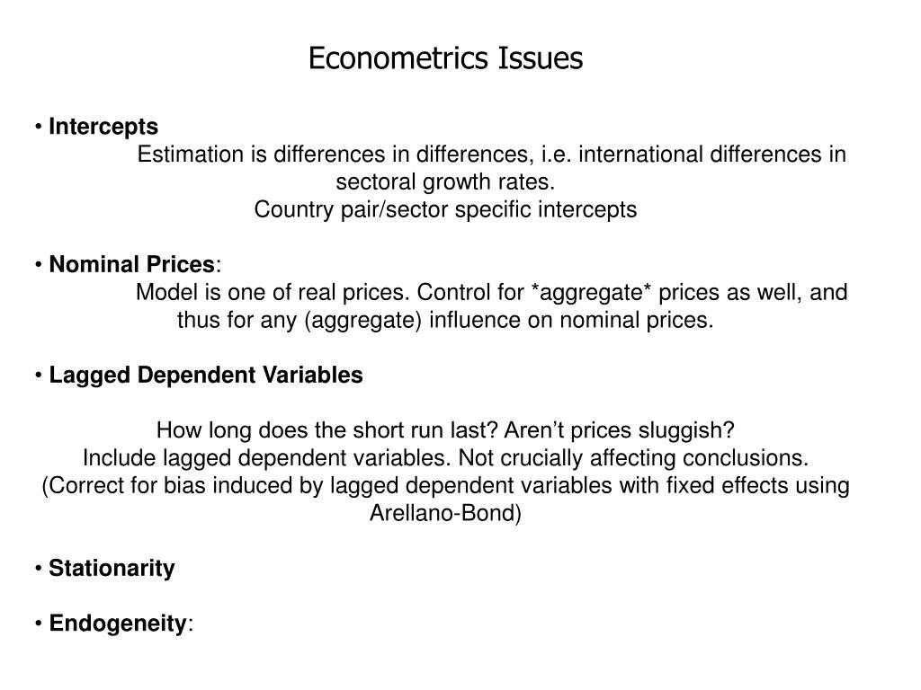 Econometrics Issues
