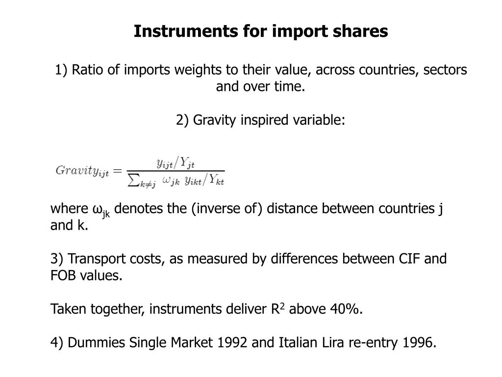 Instruments for import shares