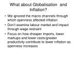 what about globalisation and inflation