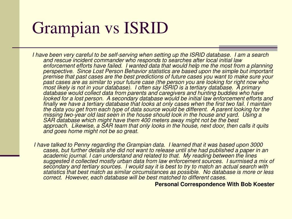 Grampian vs ISRID
