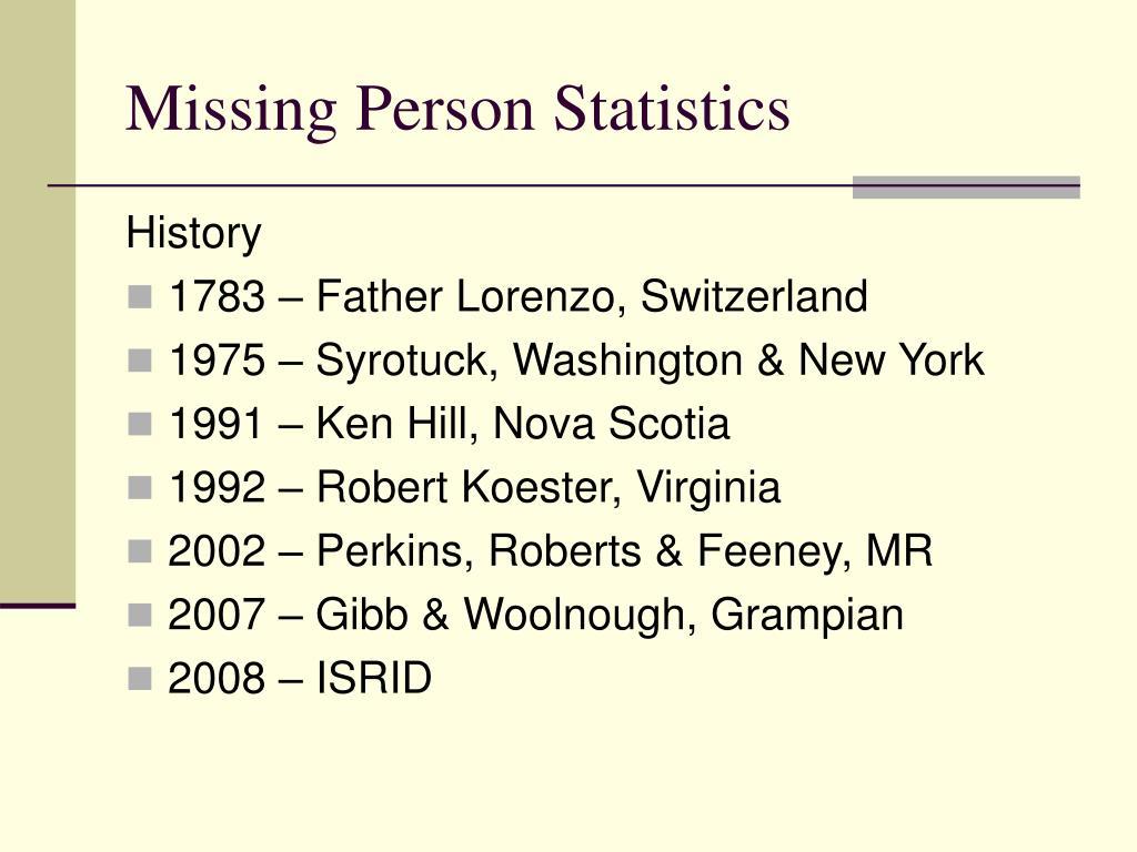 Missing Person Statistics
