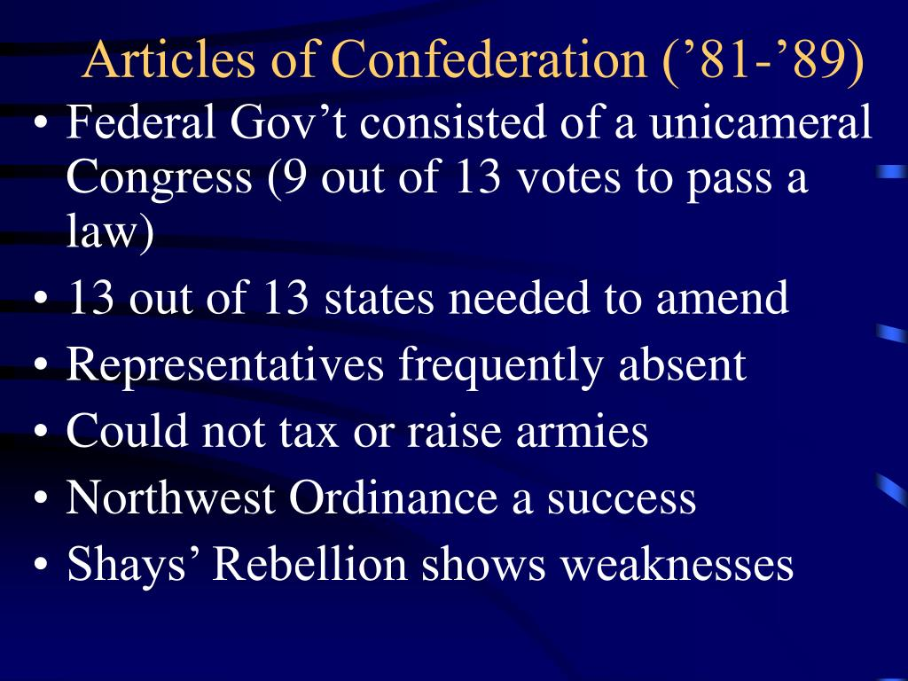 Articles of Confederation ('81-'89)