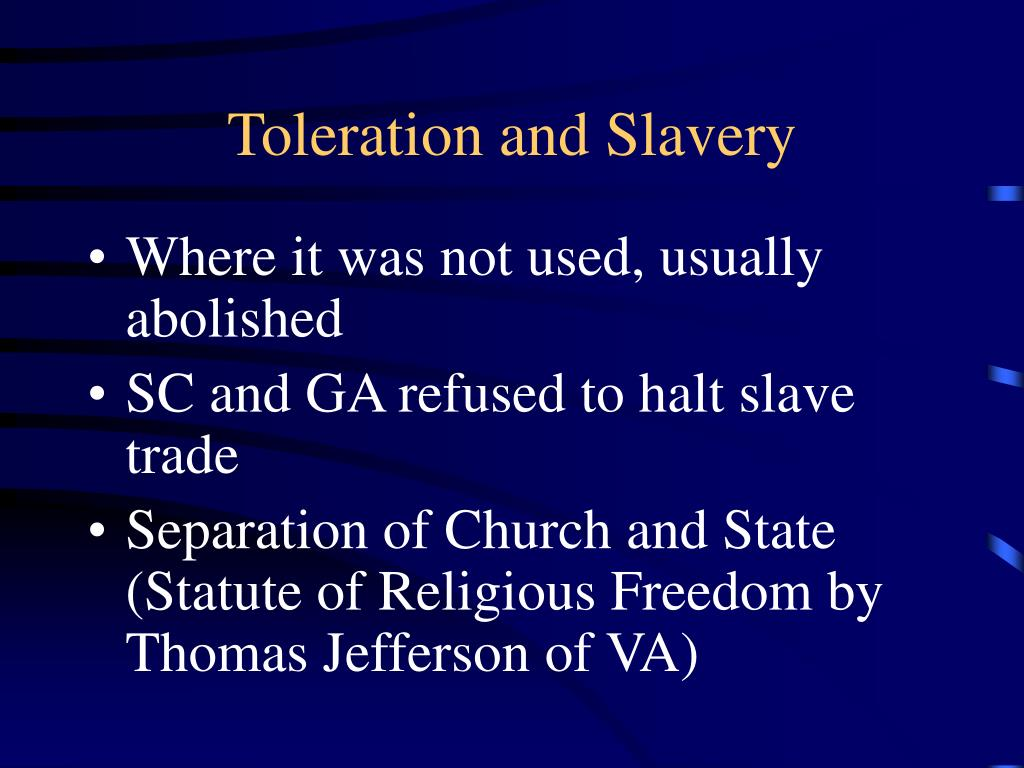Toleration and Slavery