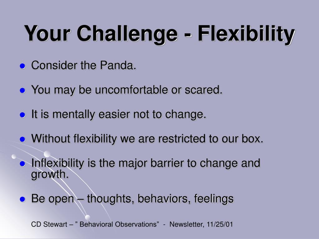 Your Challenge - Flexibility