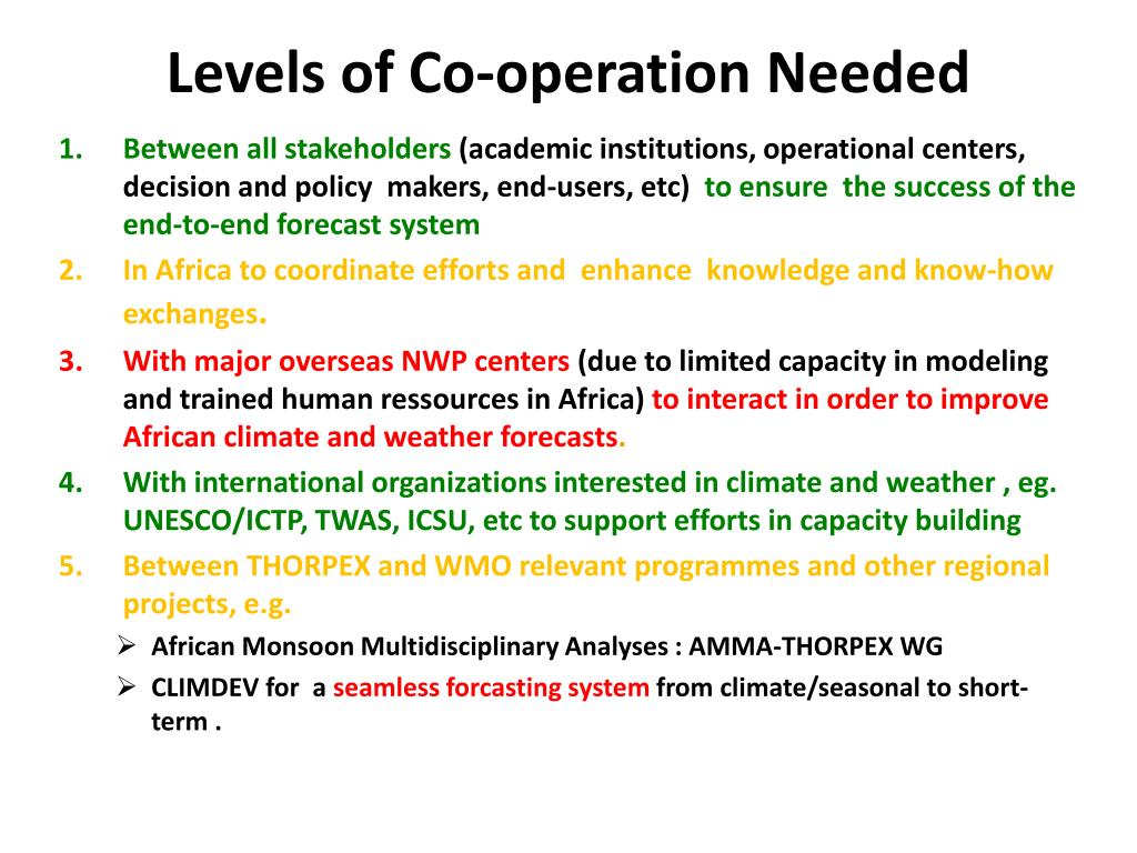 Levels of Co-operation Needed