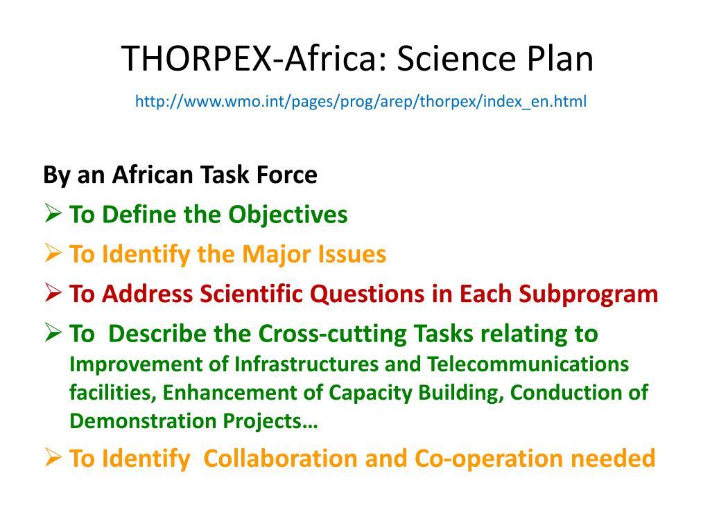 THORPEX-Africa: Science Plan