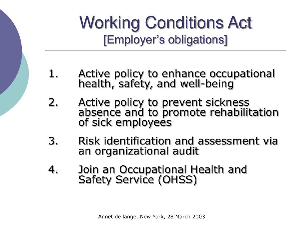 Working Conditions Act