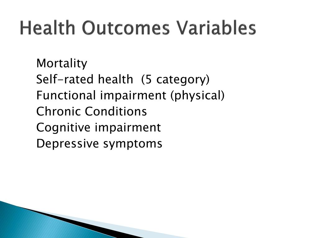 Health Outcomes Variables
