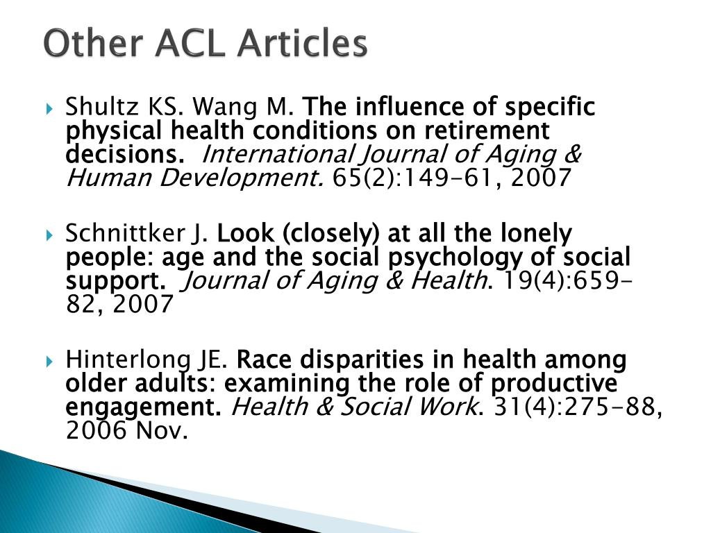 Other ACL Articles