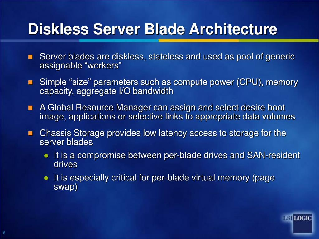 Diskless Server Blade Architecture