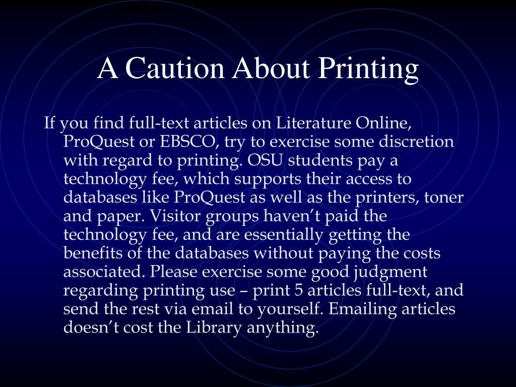 A Caution About Printing