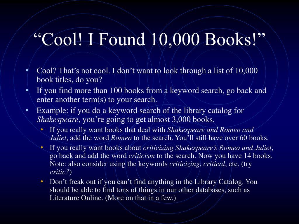"""Cool! I Found 10,000 Books!"""