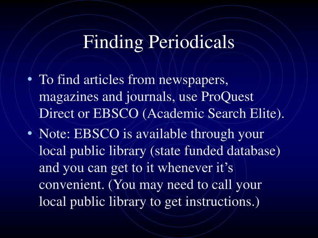 Finding Periodicals