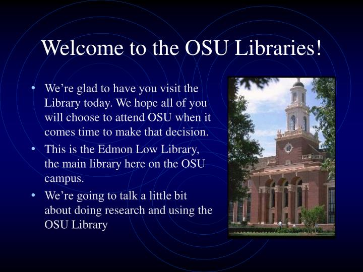 Welcome to the osu libraries
