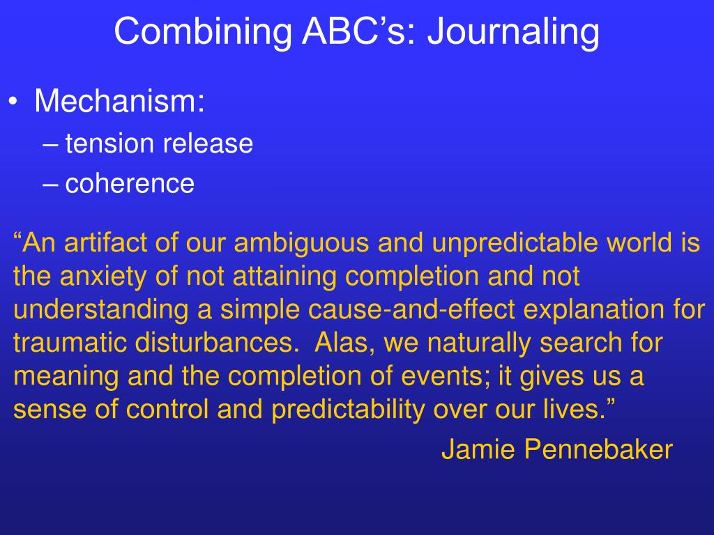 Combining ABC's: Journaling