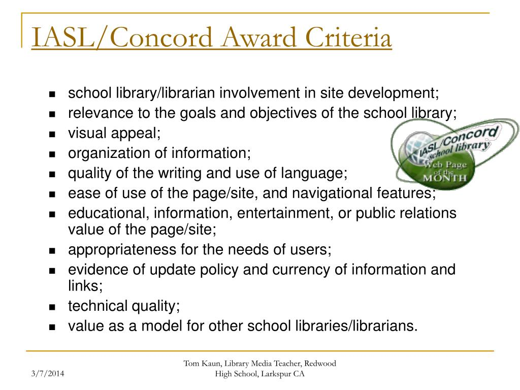 IASL/Concord Award Criteria