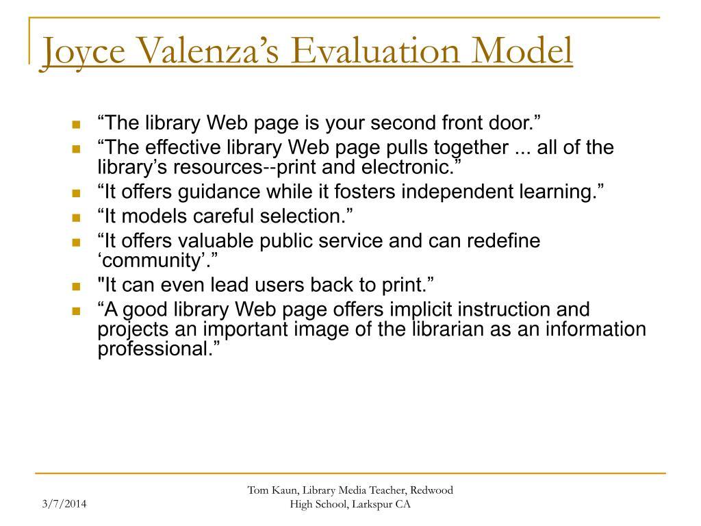 Joyce Valenza's Evaluation Model