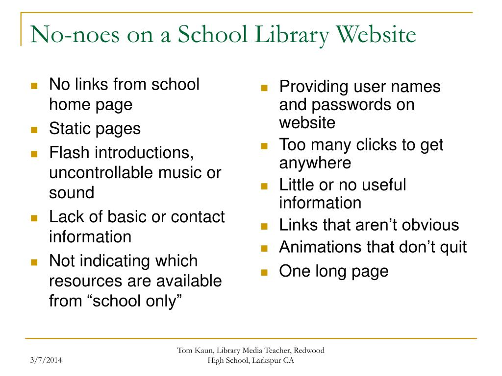 No links from school home page