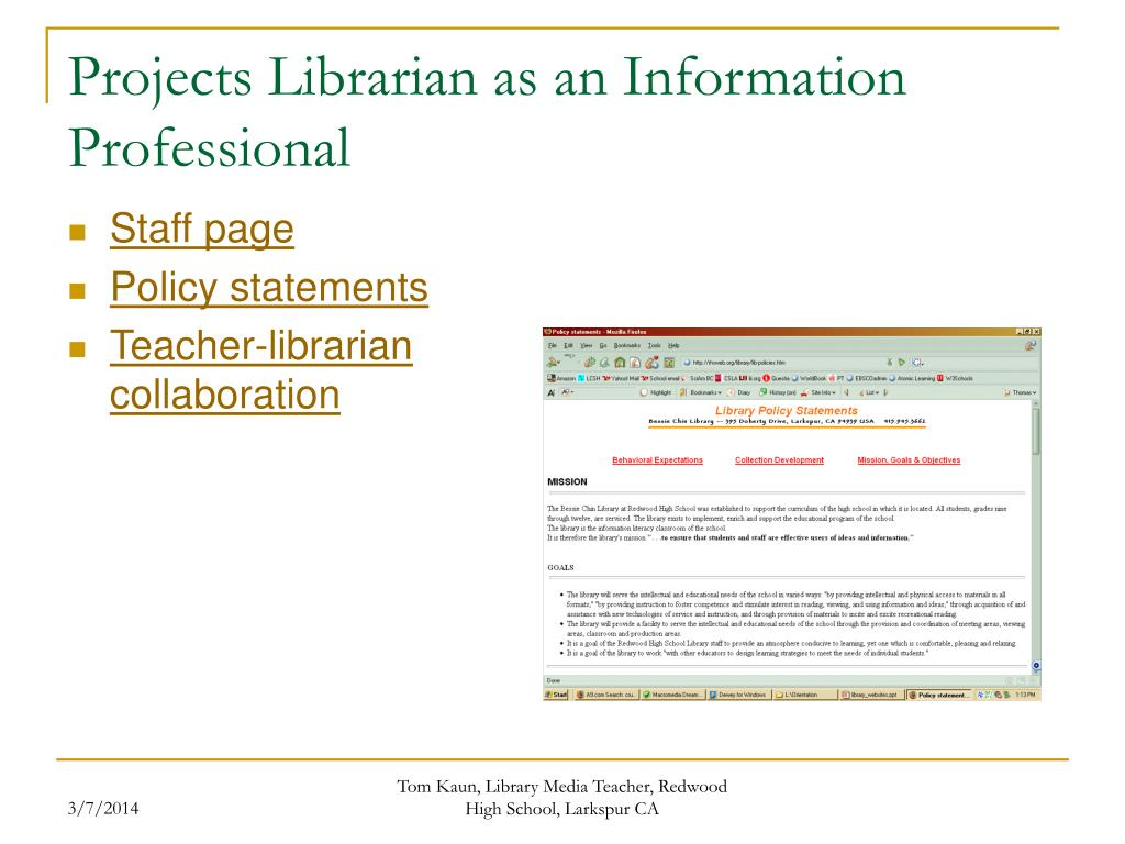 Projects Librarian as an Information Professional