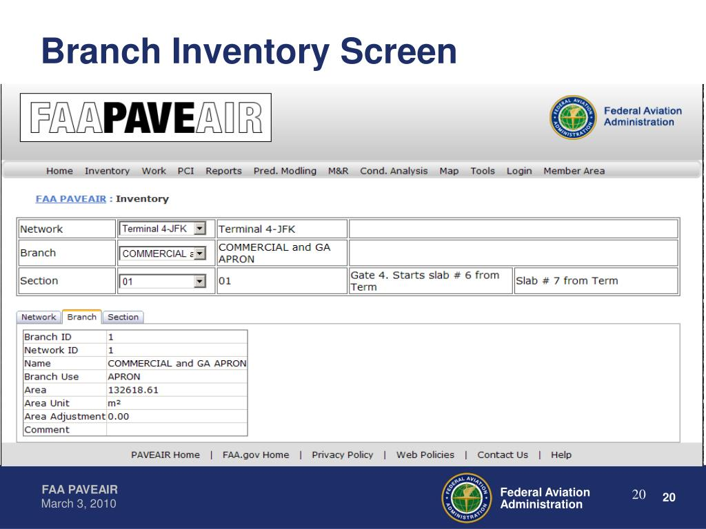 Branch Inventory Screen