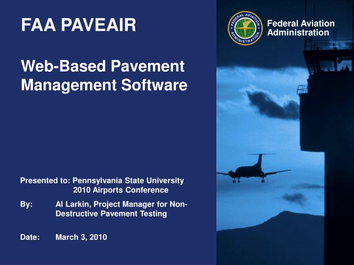 Faa paveair web based pavement management software