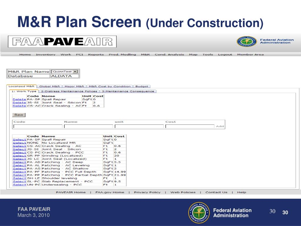 M&R Plan Screen