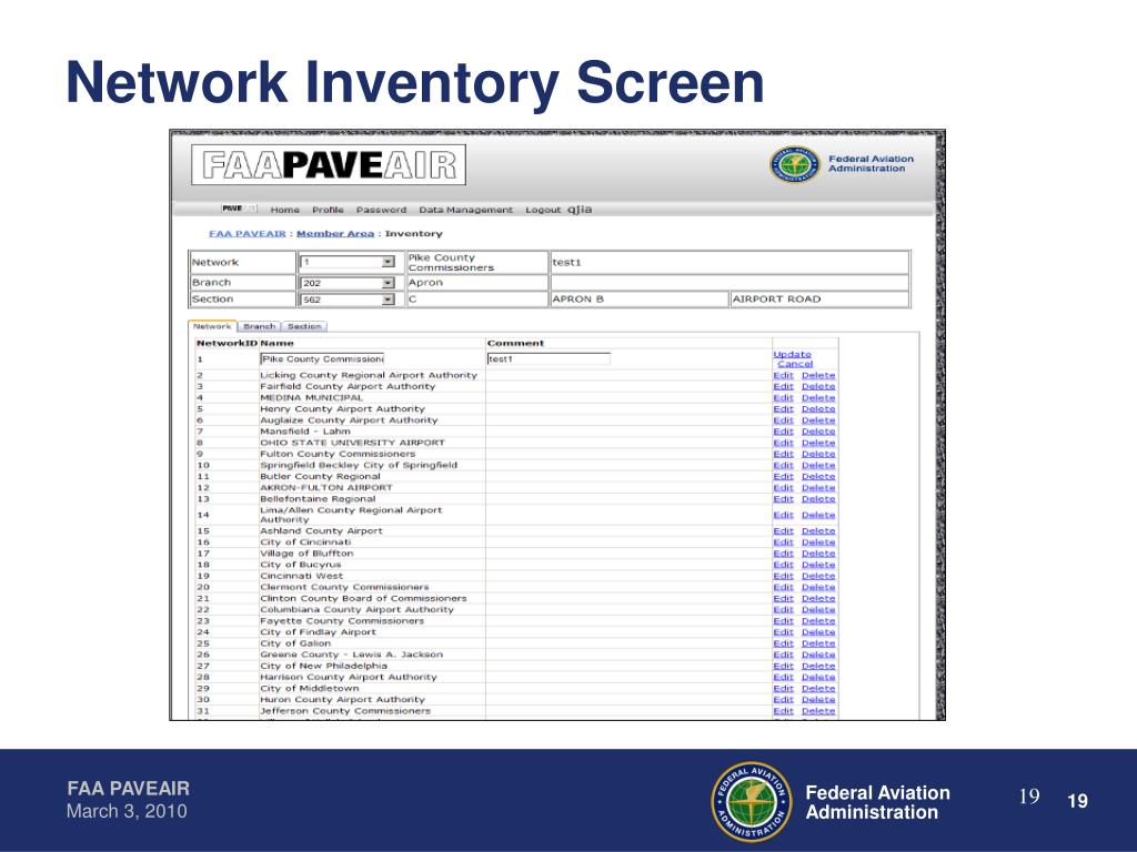 Network Inventory Screen