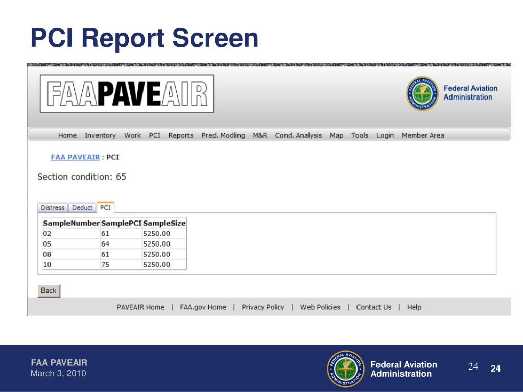 PCI Report Screen