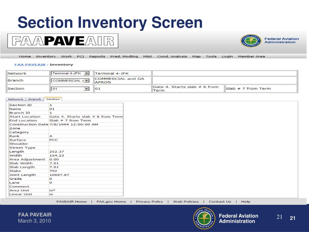 Section Inventory Screen