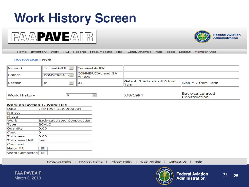 Work History Screen