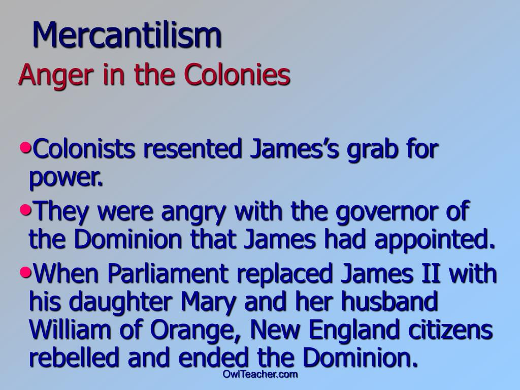 mercantilism and centralization of the royal colonies