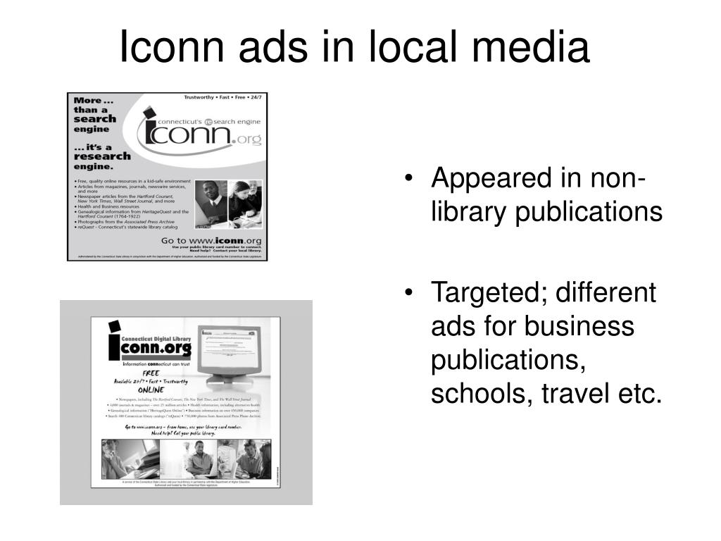 Iconn ads in local media