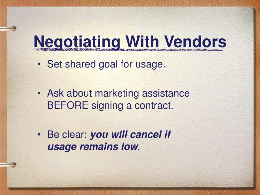 Negotiating With Vendors