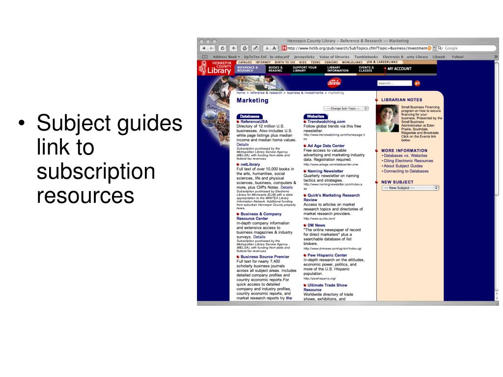 Subject guides link to subscription resources