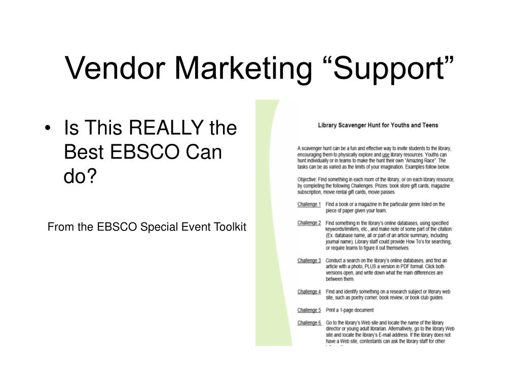 "Vendor Marketing ""Support"""