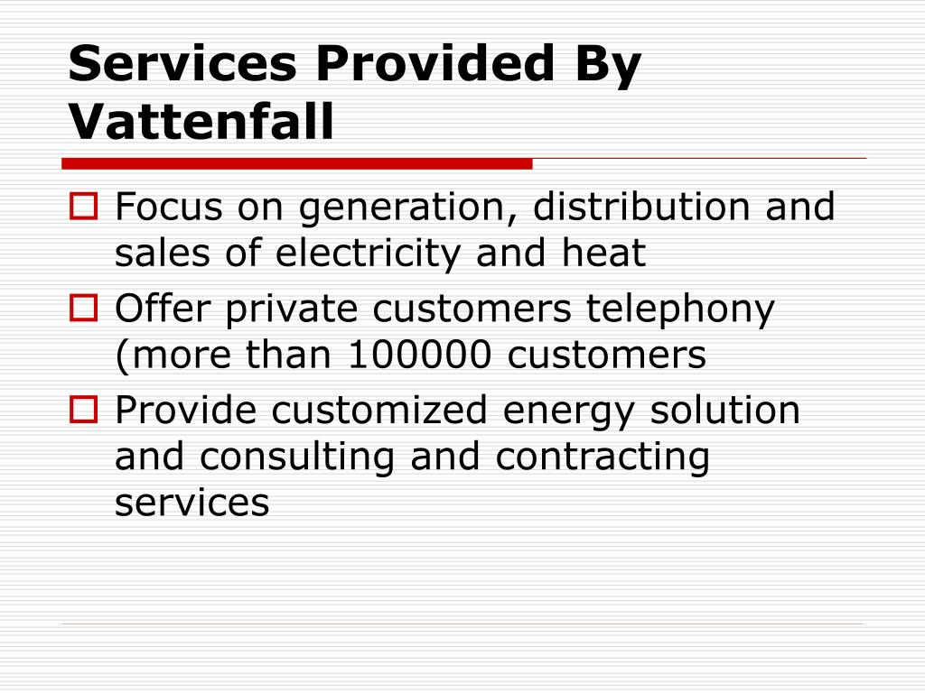 Services Provided By Vattenfall