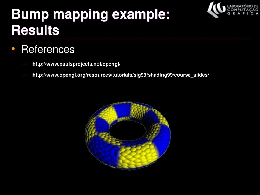 Bump mapping example: