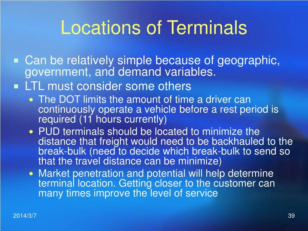 Locations of Terminals