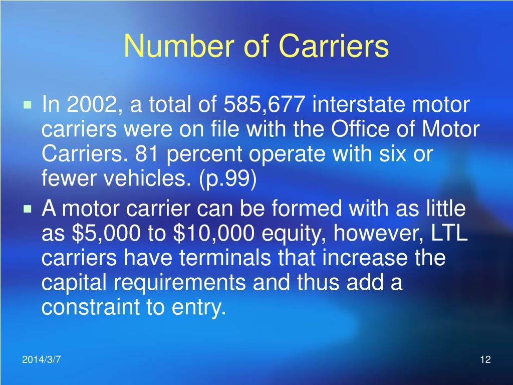 Number of Carriers