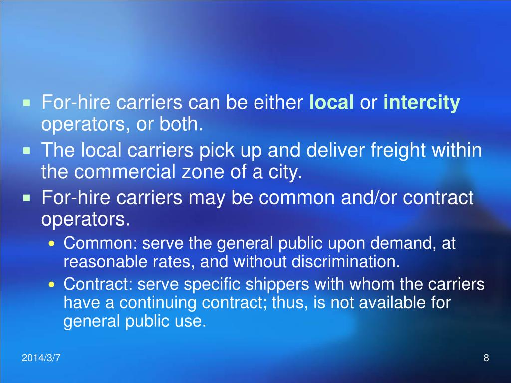 For-hire carriers can be either