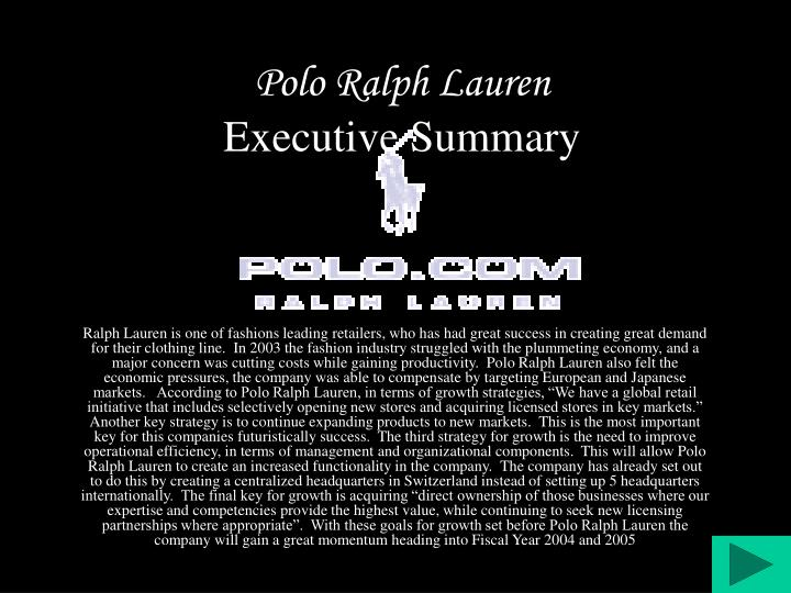 Polo ralph lauren executive summary l.jpg